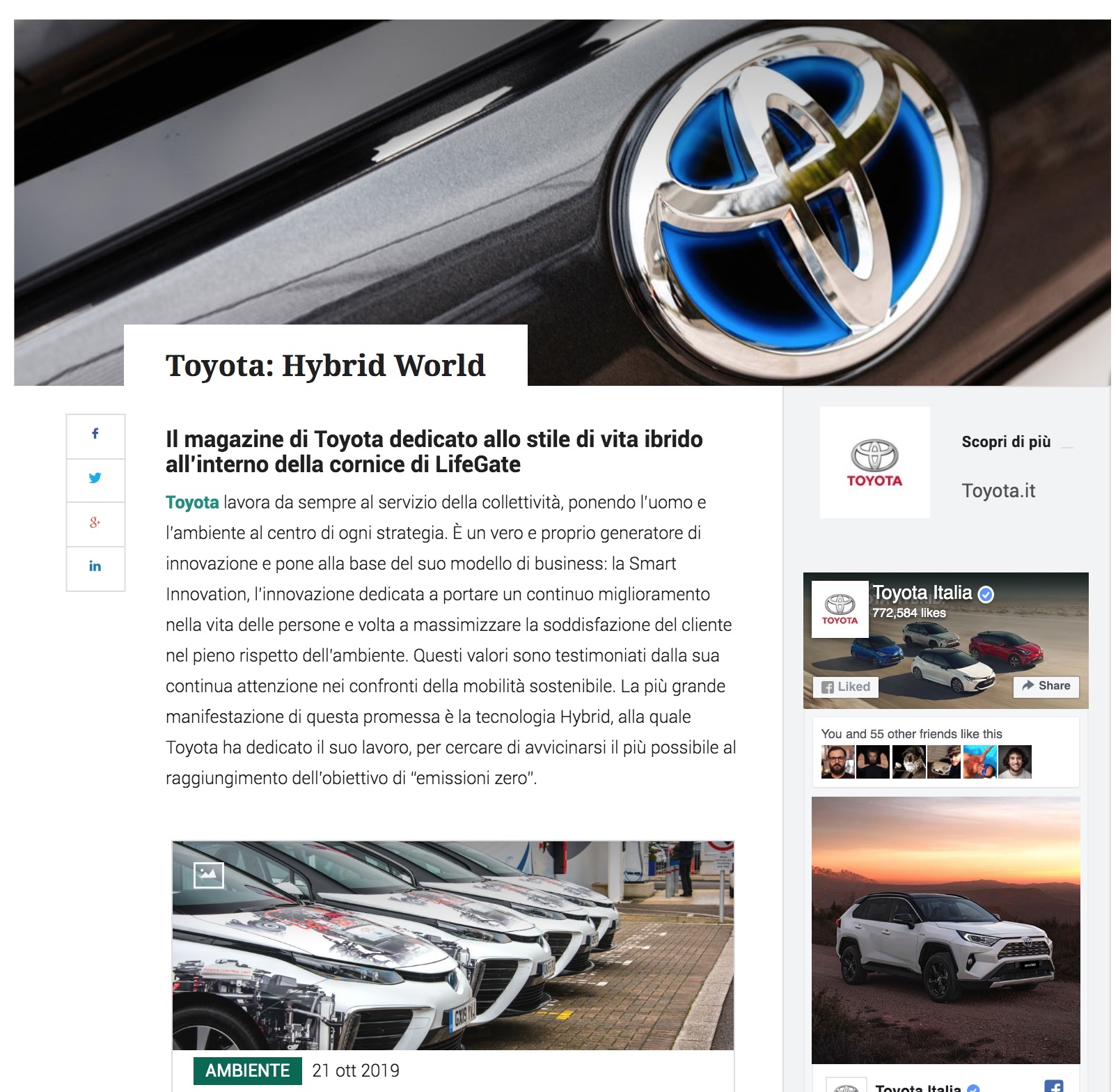 Toyota Hybrid World on LifeGate