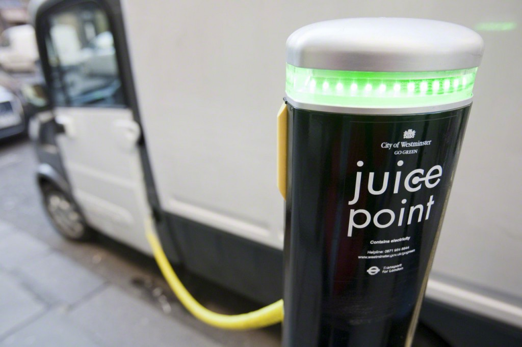 Electric vehicle at Juice Point electric vehicle charging point