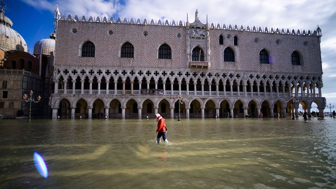 Piazza San Marco, in Venezia, underwater in November 2019