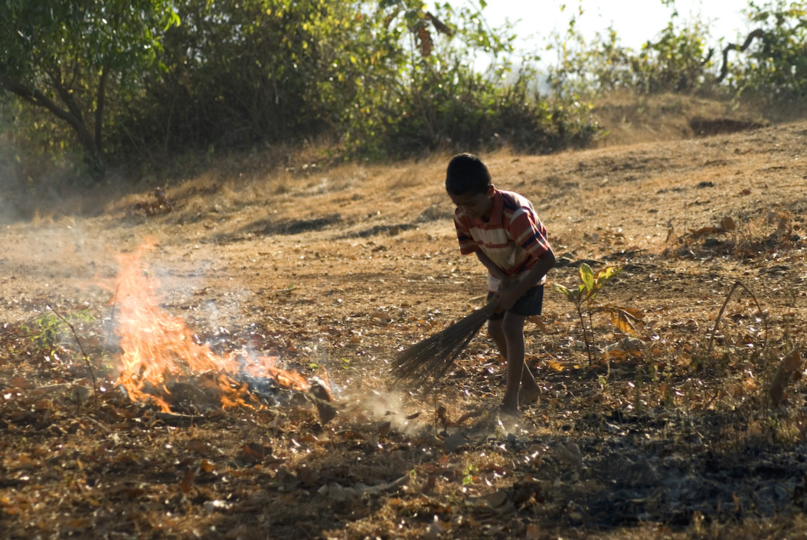 A little boy clearing rubbish and set it on fire at village anjarle district dapoli state maharashtra india asia