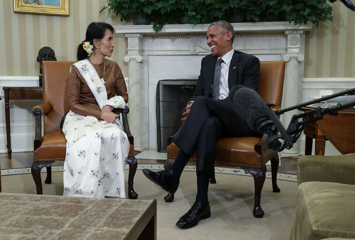 President Barack Obama and State Counsellor Aung San Suu Kyi of Burma during an Oval Office meeting at the White House © Alex Wong/Getty Images