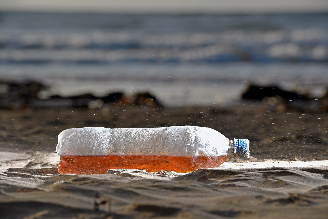 Plastic bottle washed up on the beach in South Troon, Scotland.
