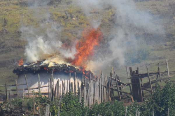 Serengeti national park rangers burned 114 bomas (traditional homes) © Conservation Watch