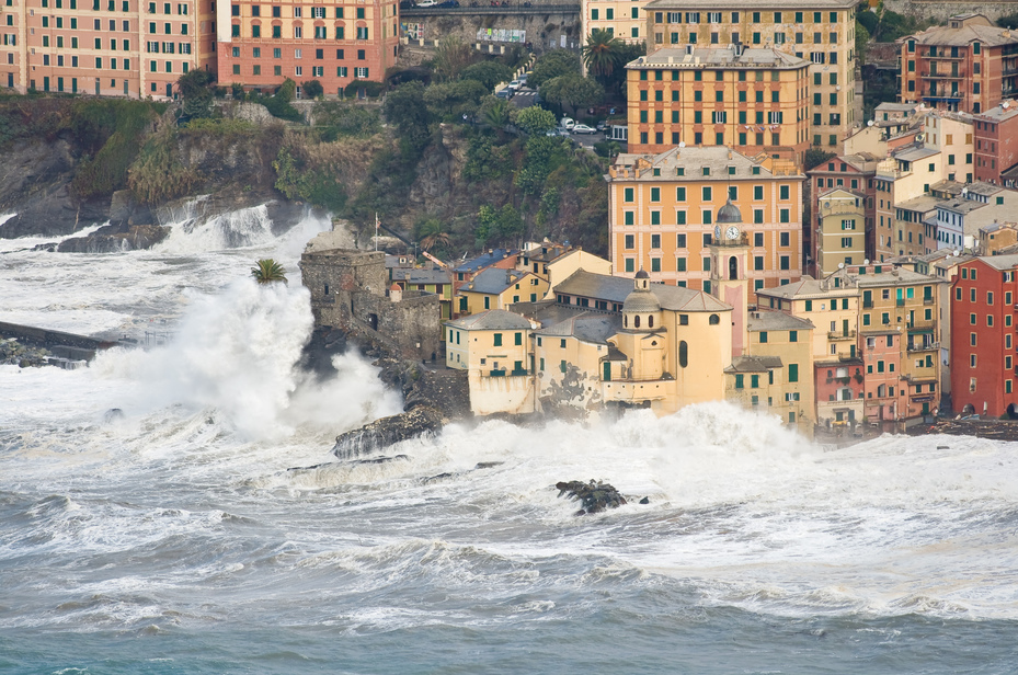 Sea storm in Camogli, Italy