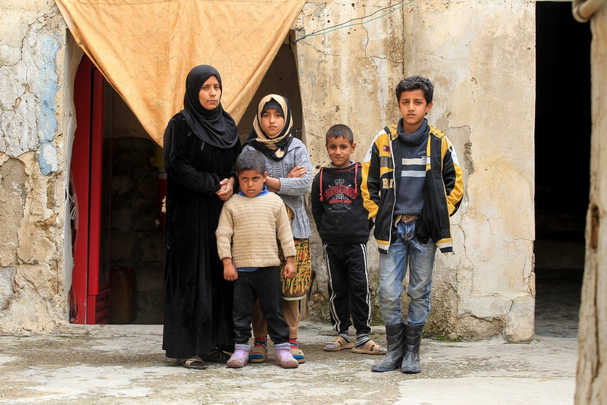 A family of internally displaced people in Telkaif, Iraq