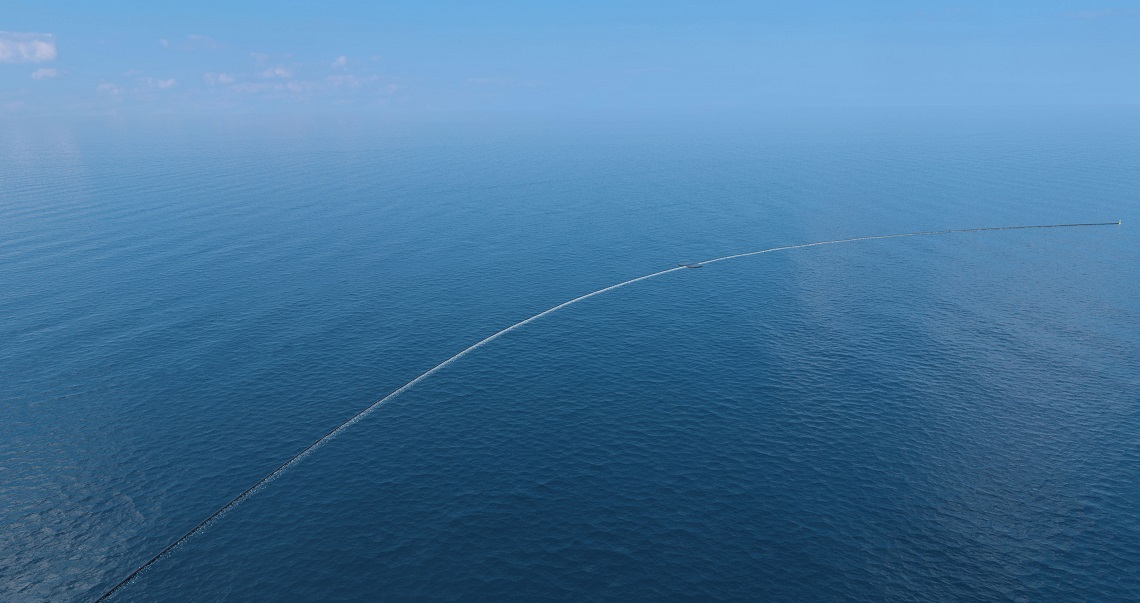 the ocean cleanup begins the device to clean up ocean plastic is on