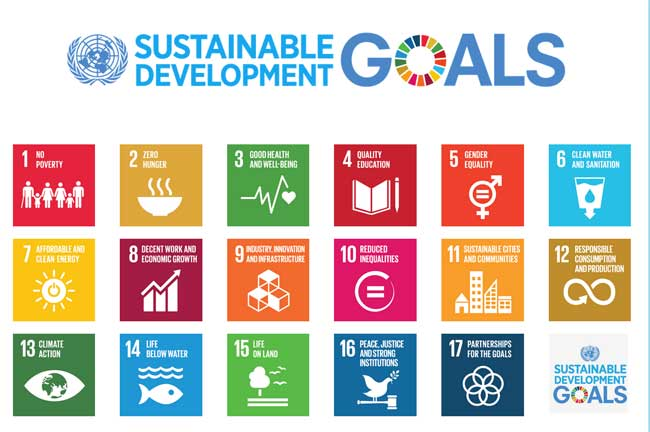 "UN Sustainable Development Goals (SDGs) - officially known as Transforming our world: the 2030 Agenda for Sustainable Development is a set of seventeen aspirational ""Global Goals"" with 169 targets between them."
