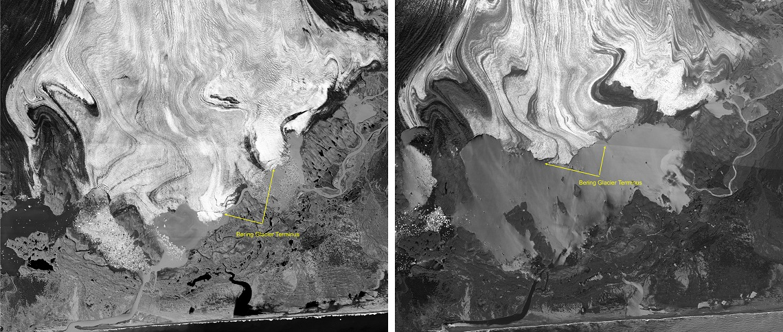 BERING GLACIER, ALASKA - UNSPECIFIED DATE:  (EDITORS NOTE: ALTERNATE CROP)  In this handout satellite composite image provided by the U.S. Geological Survey (USGS), satellite images of polar ice sheets taken in September 1996 (L) and May 2005 show the retreating ice of the Bering Glacier in Alaska. The Bering Glacier is the largest and longest glacier in continental North America. In 1996, its size reached a late twentieth-century maximum. Since then, parts of Bering Glacier's terminus have retreated more than three miles and have thinned by more than 200 feet. Photos from US satellites, declassified by the Obama White House administration, provide the first graphic images of how the polar ice sheets are retreating. According to the USGS changes in the timing of coastal glacial breakup have significant local impacts; ecological, biological, and human. Information recorded over long periods is required to understand and model the dynamics of glaciers and how changes or trends may develop and influence other systems.  (Photo by USGS via Getty Images)
