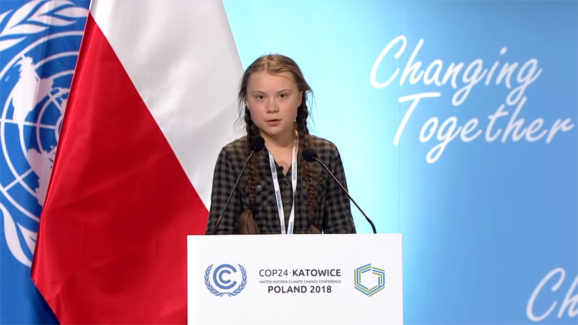 Image result for image of Greta Thunberg at COP24 in Katowice
