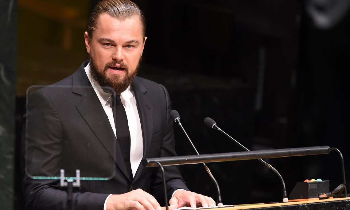 Leonardo DiCaprio speaks at the opening of the United Nations Climate Summit 2014 September 23, 2014 at the United Nations in New York. AFP PHOTO/Don EmmertDON EMMERT/AFP/Getty Images