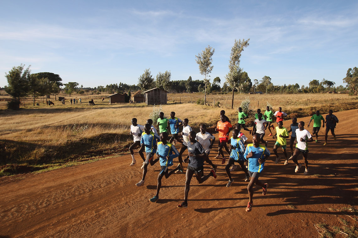 Kenyan marathon runners training
