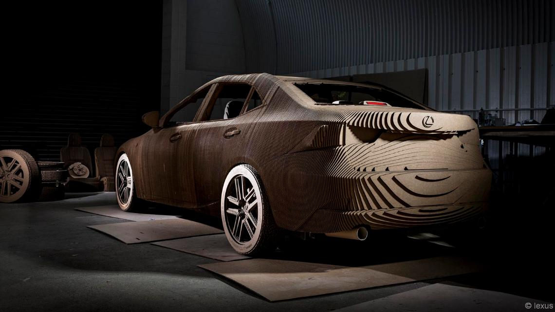 lexus builds an elctric car made from laser cut cardboard lifegate. Black Bedroom Furniture Sets. Home Design Ideas