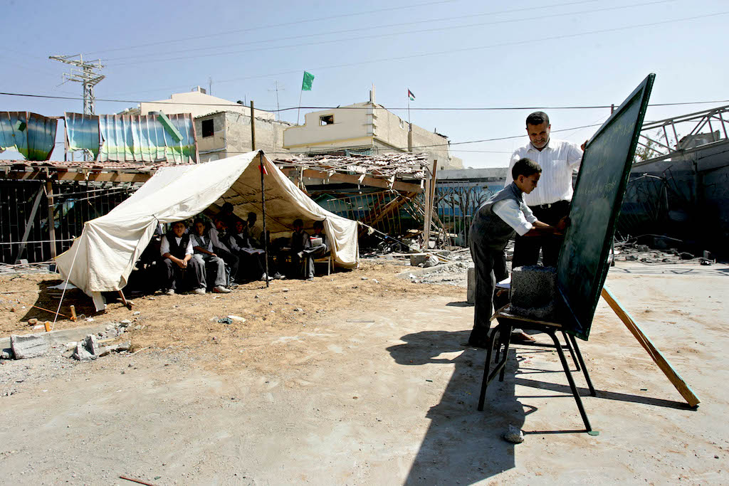 Dar Al-Arqam Elementary School Uses Tents As Makeshifts Classrooms