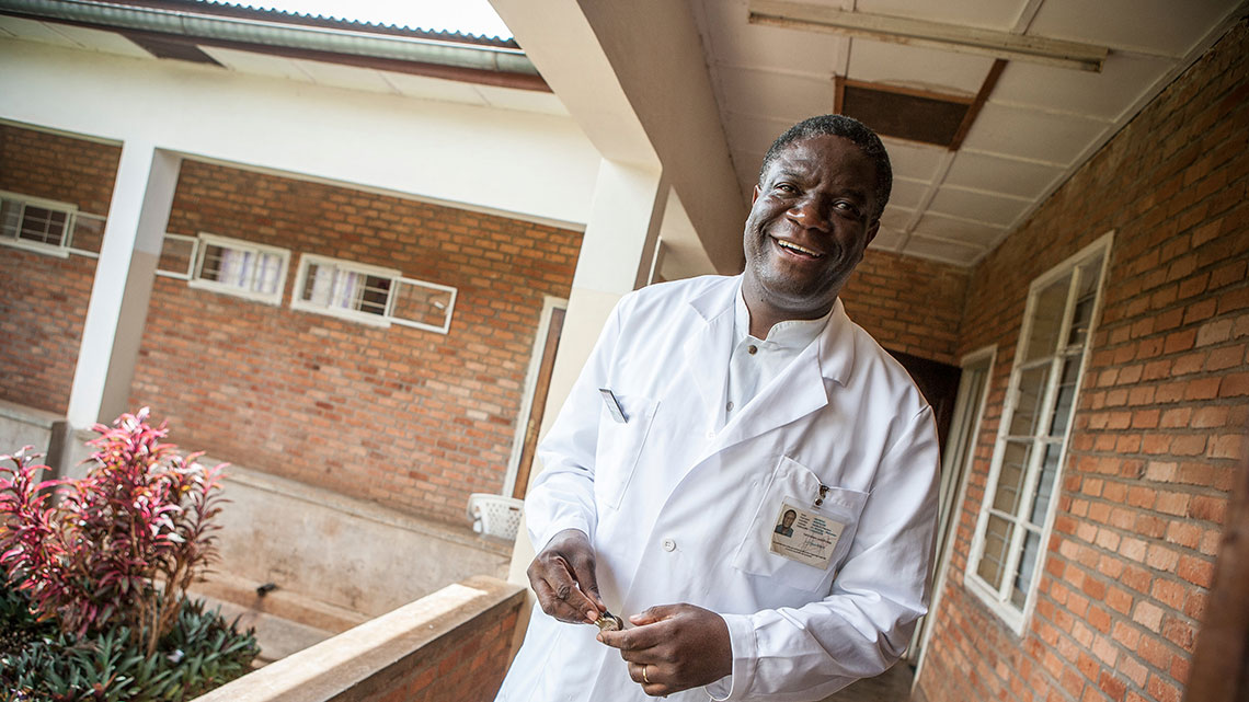 Denis Mukwege in the courtyard of his hospital in the Democratic Republic of Congo