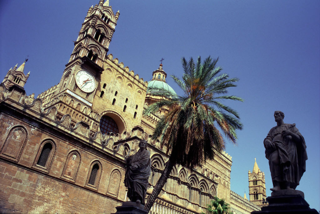 Palermo, Sicily. Italy. Outside of the cathedral of Palermo.