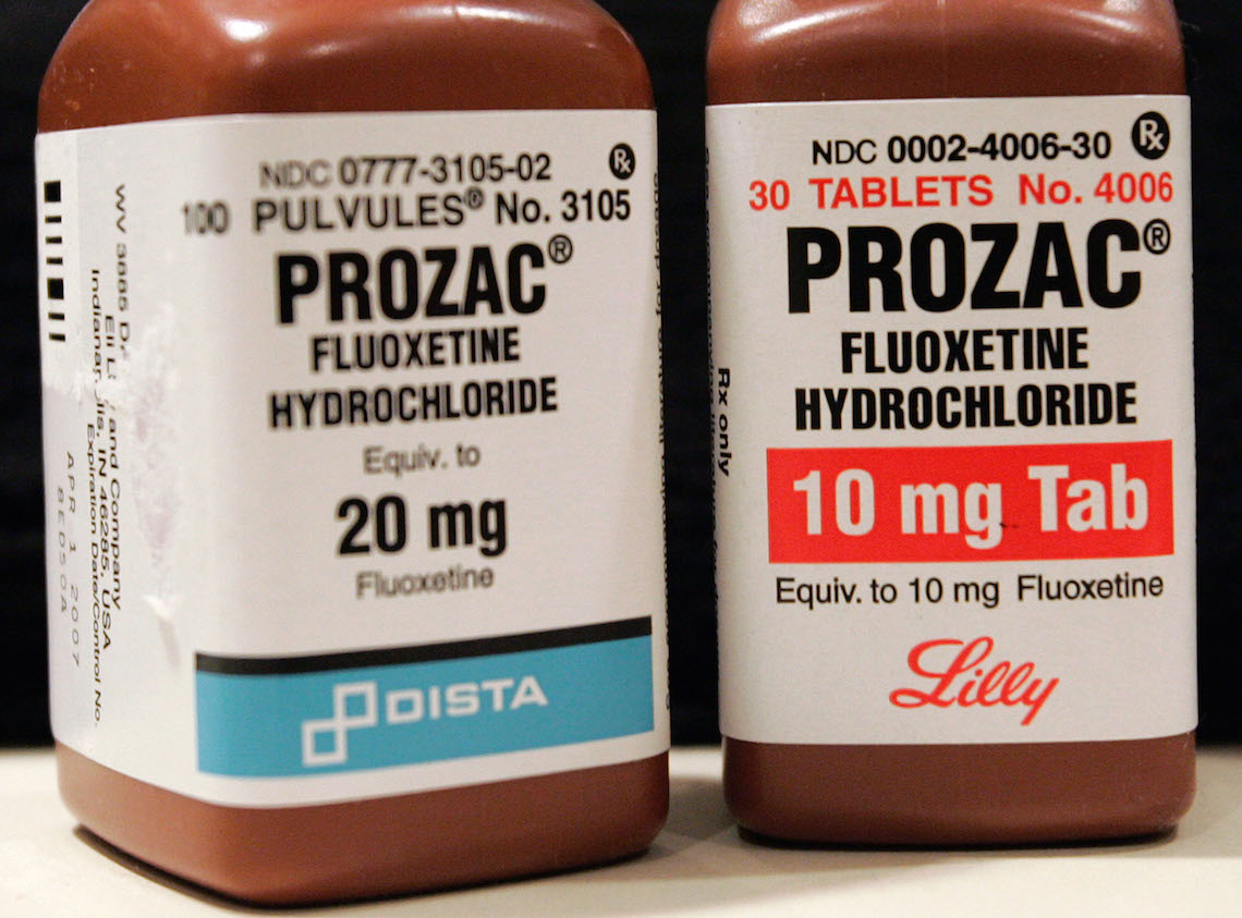 NEW YORK - JANUARY 4: Two bottles of Prozac are seen on a pharmacy shelf January 4, 2004 in New York City. The British Medical Journal (BMJ) sent the U.S.Food and Drug Administration documents submitted by an anonymous source that seem to show a link between Eli Lilly and Co.'s Prozac (fluoxetine) and suicide attempts and violence(Photo by Stephen Chernin/Getty Images)